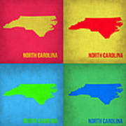 North Carolina Pop Art Map 1 Print by Naxart Studio
