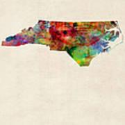 North Carolina Watercolor Map Print by Michael Tompsett