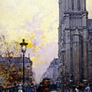 Notre Dame De Paris Print by Eugene Galien-Laloue