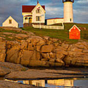 Nubble Lighthouse No 1 Print by Jerry Fornarotto