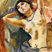 Nude Brunette With Blue Necklace Nu La Brune Au Collier Bleu Print by Jules Pascin