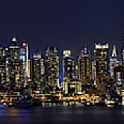 Nyc Skyline Full Moon Panorama Print by Susan Candelario