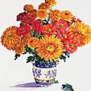 October Chrysanthemums Print by Christopher Ryland