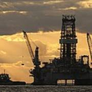 Offshore Rig At Dawn Print by Bradford Martin