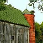 Old Barn With Brick Silo II Print by Julie Dant