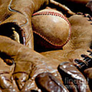 Old Baseball Ball And Gloves Print by Art Block Collections