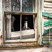 Old Broken Window And Shutter Of An Abandoned House Print by Gary Heller