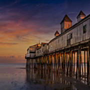 Old Orchard Beach Pier Sunset Print by Susan Candelario