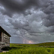 Old School House And Lightning Print by Mark Duffy