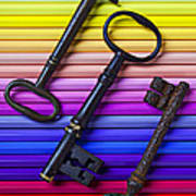Old Skeleton Keys On Rows Of Colored Pencils Print by Garry Gay
