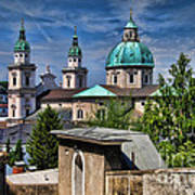Old Town Salzburg Austria In Hdr Print by Sabine Jacobs