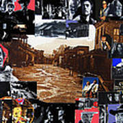 Old Tucson Arizona Composite Of Artists Performing There 1967-2012 Print by David Lee Guss