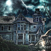 Old Victorian House Print by Mo T