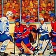 Olympic  Hockey Hopefuls  Painting By Montreal Hockey Artist Carole Spandau Print by Carole Spandau