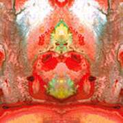 Om - Red Meditation - Abstract Art By Sharon Cummings Print by Sharon Cummings