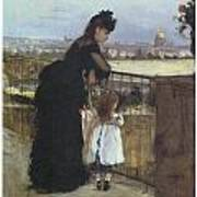 On The Balcony Print by Berthe Morisot