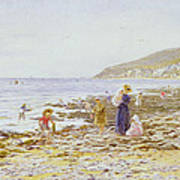 On The Beach Print by Helen Allingham