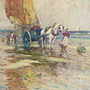 On The Beach  Print by Oswald Garside