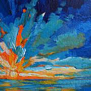 Orange Blue Sunset Landscape Print by Patricia Awapara