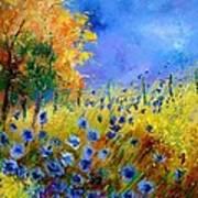 Orange Tree And Blue Cornflowers Print by Pol Ledent