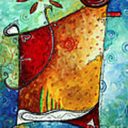 Original Abstract Pop Art Style Colorful Landscape Painting Home To Tuscany By Megan Duncanson Print by Megan Duncanson