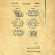 Original Patent For Lego Toy Building Brick Print by Edward Fielding