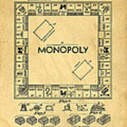 Original Patent For Monopoly Board Game Print by Edward Fielding