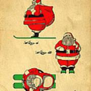 Original Patent For Santa On Skis Figure Print by Edward Fielding