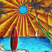 Original Tropical Surfing Whimsical Fun Painting Waiting For The Surf By Madart Print by Megan Duncanson