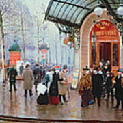 Outside The Vaudeville Theatre Print by Jean Beraud