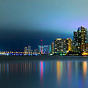 Overcast Miami Night Skyline Print by Andres Leon
