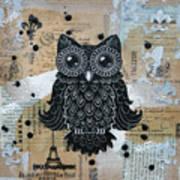 Owl On Burlap1 Print by Kyle Wood