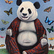 Panda Buddha Print by James W Johnson