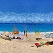 Panoramic Painting Of Porto Katsiki Beach Print by George Atsametakis