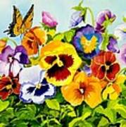 Pansies With Butterfly Print by Janis Grau