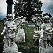 Parade Of Angels Statues At Cemetery Print by Amy Cicconi