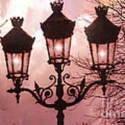 Paris Street Lanterns - Paris Romantic Dreamy Surreal Pink Paris Street Lamps  Print by Kathy Fornal