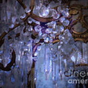 Paris Surreal Haunting Crystal Chandelier Mirrored Reflection - Dreamy Blue Crystal Chandelier  Print by Kathy Fornal