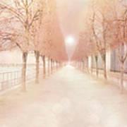 Paris Tuileries Row Of Trees - Paris Jardin Des Tuileries Dreamy Park Landscape  Print by Kathy Fornal