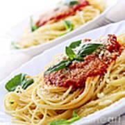 Pasta And Tomato Sauce Print by Elena Elisseeva