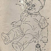 Patent For Crying Baby Doll Print by Edward Fielding