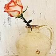 Peach Trim Rose In Pottery Print by Marsha Heiken