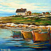 Peggys Cove With Fishing Boats Print by Carole Spandau