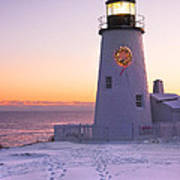 Pemaquid Point Lighthouse Christmas Snow Wreath Maine Print by Keith Webber Jr