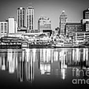 Peoria Illinois Skyline At Night In Black And White Print by Paul Velgos