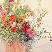 Petunias Lobelias Busy Lizzies And Fuschia In A Terracotta Pot Print by Joan Thewsey