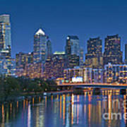Phila Pa Night Skyline Reflections Center City Schuylkill River Print by David Zanzinger