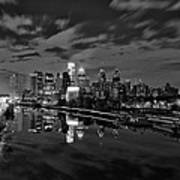 Philadelphia From South Street At Night In Black And White Print by Bill Cannon