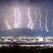 Phoenix Arizona City Lightning And Lights Print by James BO  Insogna