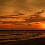 Pier At Sunset Print by Sandy Keeton